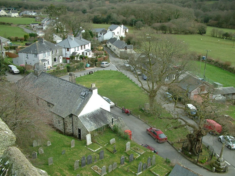 Meavy village from the top of St Peter's Church tower